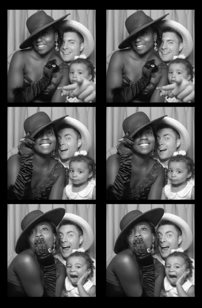 a beautiful family enjoying our photo booth at a connecticut wedding