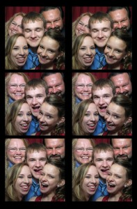 Cramming into our photo booth!