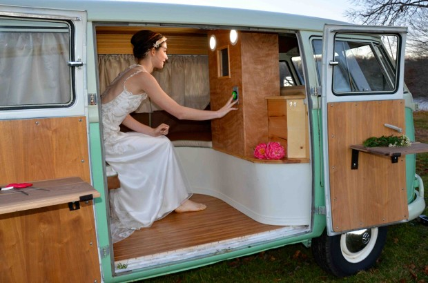 Chloe, the VW PhotoBUS works just like any other photobooth – hop in and have your pictures taken! Rent her today for your CT, RI, MA or Hamptons wedding.
