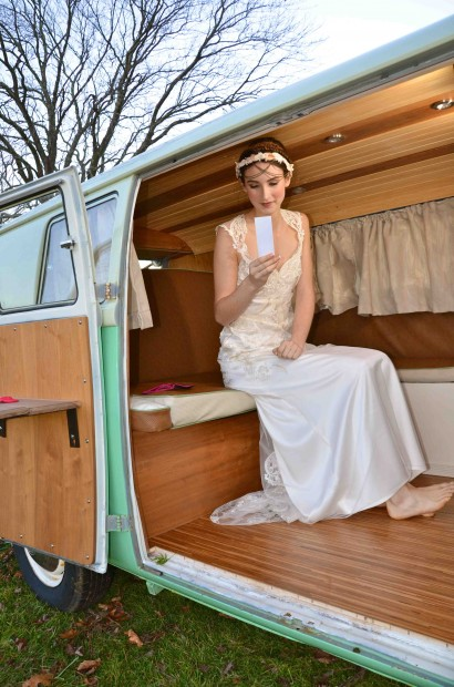 Chloe, the VW PhotoBUS has been customized with a walnut and bamboo interior. Perfect touches for a tented wedding or outdoor affair.