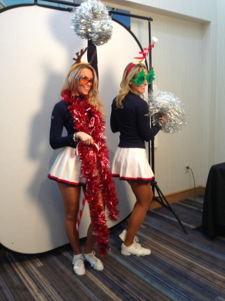 Patriots Cheerleaders rocking the Mobile Flipbook Studio at an event in Boston MA