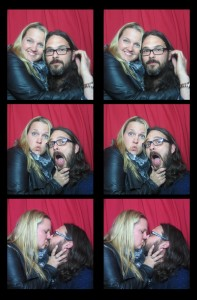 Fun couple hanging out in our vintage, classic photobooth at an event in New York City