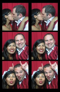 Sweet couple telling a cute story in our vintage photobooth at a wedding in New Jersey (NJ)