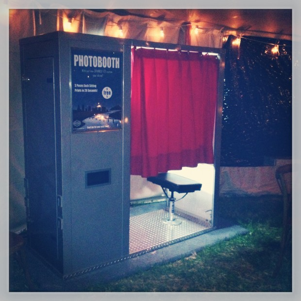 The classic photo booth at an outdoor wedding in New Jersey