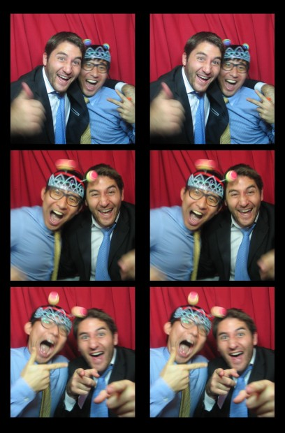Hanging out with a guest in our vintage photo booth at an event in New York, NY