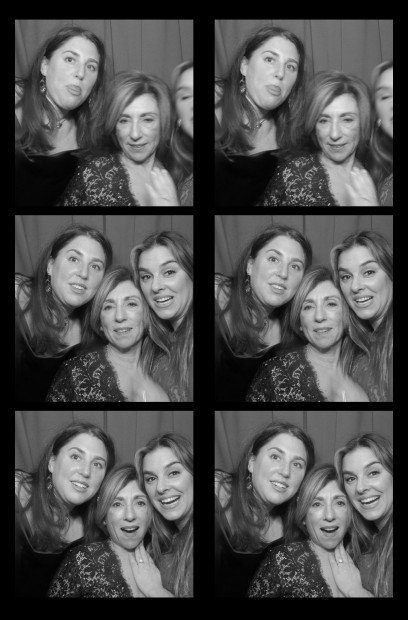 One of the honored guests of the evening with her two daughters in our vintage photo booth