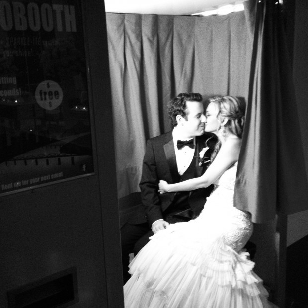 Finally, a breather!  Bride and groom taking a break in our classic photo booth at a recent Manhattan wedding