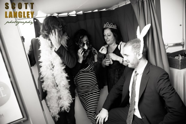Guests getting set-up in our classic photo booth at a recent wedding at Maritime Parc, Jersey City