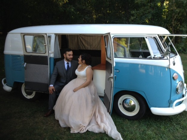Bella, our vintage 1965 VW Bus at a recent wedding in Rivervale, NJ