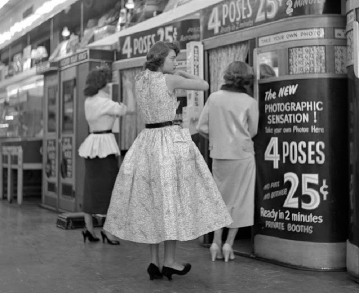 vintage photos of new york in 1950 s featuring a photo booth