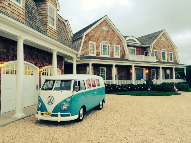 Bella, our vintage VW Photo Bus, waiting to join the party at a lovely private house in Bridgehampton, New York