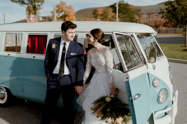 This Lovely Bride And Groom Posing In Front Of Our Vw Photo Bus At Their Hudson Valley Wedding Beacon New York